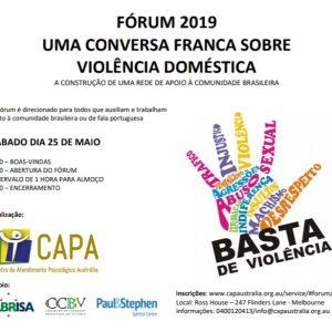 Fórum 2019 Uma conversa franca sobre Violência Doméstica – Sábado 25 Maio – 9 am a 4 pm